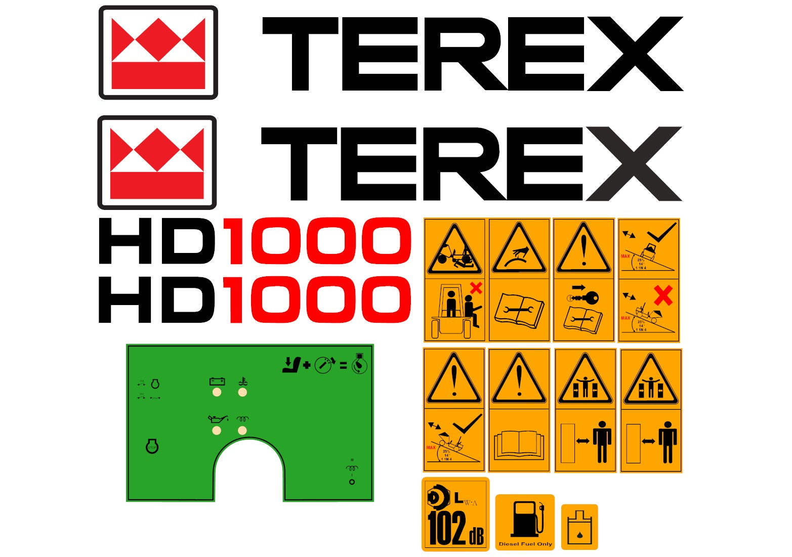 TEREX HD1000 terex hd1000 dumper decal set amc machinery decals terex hd1000 wiring diagram at gsmx.co