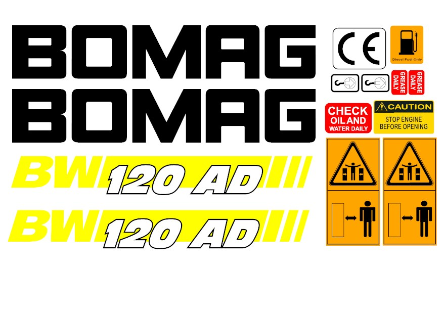 Bomag Bw120ad 4 Roller Decal Set 187 Amc Machinery Decals